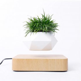 Floating plant pot - levitating 360° flowerpot on a magnetic wooden base