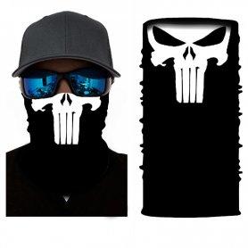 顔と頭にパニッシャーバンダナ(帽子)