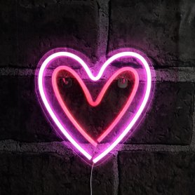 Розов неонов надпис светва - Сърце