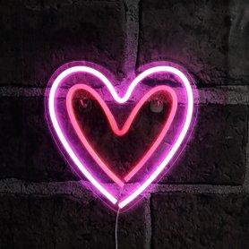 Enseigne néon rose lumineuse - Coeur