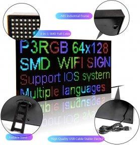 Panneau de panneau LED WiFi programmable couleur RVB - 20x39cm avec support