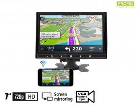 "Mirror Link monitor 7 ""WiFi LCD multifunktion til bil - VGA, HDMI og AV-indgang til 2 kameraer"