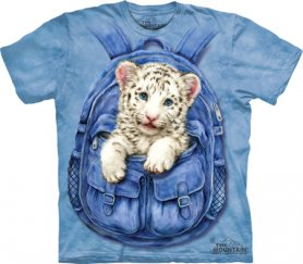 Batik-T-Shirt - White Tiger