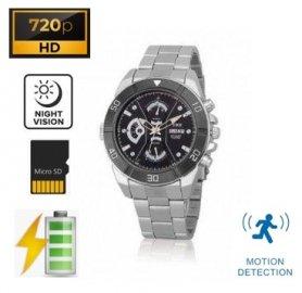 Hodinky na ruku s kamerou HD -kovové s detekciou pohybu a nočným videním + 32GB