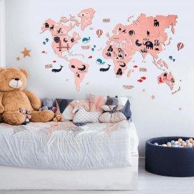 Mapa mundial com animais para crianças - mapa 2D de madeira na parede - PINK 100x60cm