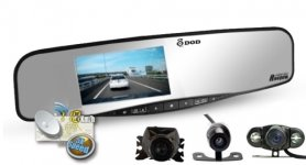 Зеркало заднего вида камера DOD RX400W с GPS + Парковочная камера