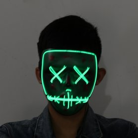 Halloween masky Purge LED - Zelená