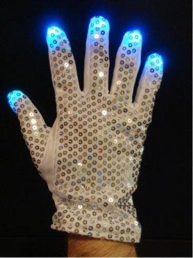 Rękawice Dyskoteka RGB - srebrne