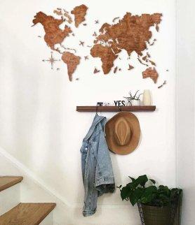 Mapas de parede de madeira - cor carvalho 150 cm x 90 cm