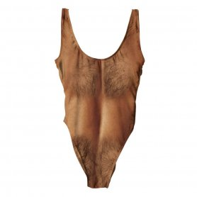 Hairy swimwear with the print of men body - light brown