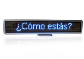 Panneau LED portable avec texte défilant 56 cm x 11 cm - bleu