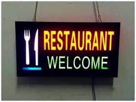 Glow sign board RESTAURANT - reclamă cu LED