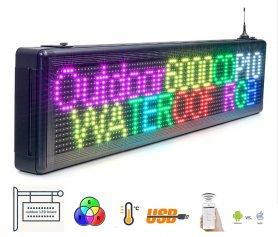 Zewnętrzna wodoodporna tablica LED 7 znaków RGB - 103 cm x 23 cm