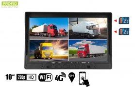 """4G / WiFi-skærm 10,1 """"HD DVR til 4 AHD / HD-kameraer med optagelse til 2xSD-kort + 2xUSB"""