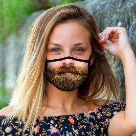 Novelty funny face mask 3D print - BEARD WITH MUSTACHE