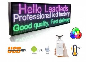 LED WIFI text panel + USB + temperature sensor - color RGB 100 cm x 27 cm