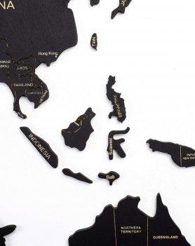 Mapa de madeira da parede - cor preta 100 cm x 60 cm