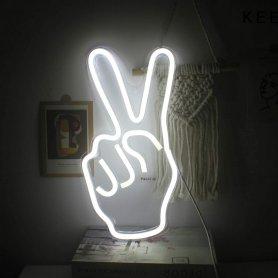 FarebnéLED neon svietiace logo- PEACE