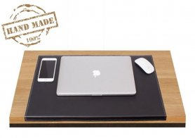 Desk writing mat black leather 60x40 cm for desk/PC - Handmade
