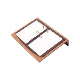 Zestaw biurowy - Luksusowy zestaw biurkowy 11 szt. (Brązowe drewno + Skóra)