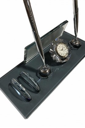 Szklany uchwyt na długopis wykonany z czarnego szkła + wizytownik + zegarek + 2 długopisy