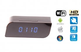 Mini Alarm Clock camera HD with WiFi + IR LED + Motion detection + AC/DC power supply