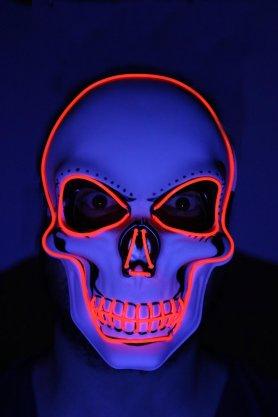 Mascarilla LED intermitente SKULL - rojo
