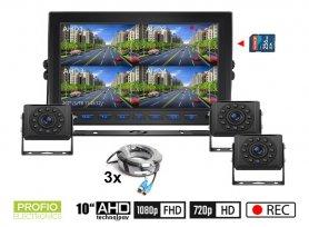 """กล้องสำรอง AHD พร้อมการบันทึกการ์ด SD - กล้อง HD 3x พร้อม 11 IR LED + 1x Hybrid 10"""" AHD monitor"""