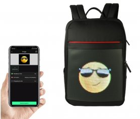 LED smart backpackprogrammable animation or text with LED display 24x24cm (control via smartphone)