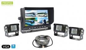 """VGA set na parkování - 7 """"LCD monitor + 3x voděodolná couvací kamera s úhlem 150 °"""