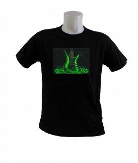 T-shirt sensible au son - guitare verte