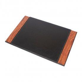 Skórzana podkładka na biurko - luksusowy ZESTAW do biura 8 szt. - Orzech + czarna skóra
