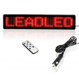 Car LED panel red with remote control 23 x 5 x 1 cm, 12V