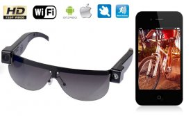Wifi camera in sunglasses HD with possibility of LIVE streaming via Internet