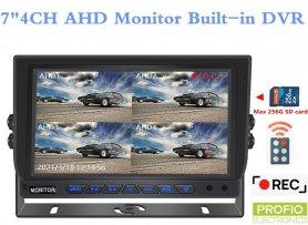 """Hybridní 7 """"monitor do auta: 4-CH, AHD / CVBS s nahráváním na micro SD kartu (do 256 GB) pro 4 kamery"""