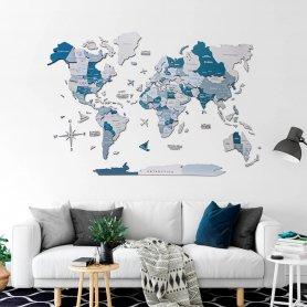 Mapa-múndi 3D de madeira Colorfull na parede - AQUA 100x60cm