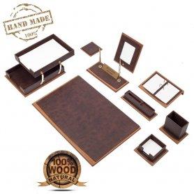 Офис комплект маса - Луксозен комплект бюро 11 бр. (Кафяво дърво + кожа)