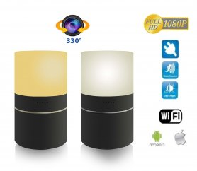 LED table lamp with WiFi FULL HD camera and 330° rotating lens