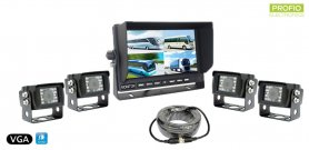 "VGA parking system 7"" LCD monitor + 4x waterproof reverse camera with 150° angle"