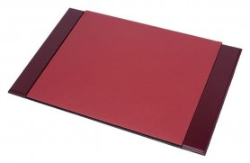 Leather desk mat - (Mahogany wood + Leather) 100% Handmade
