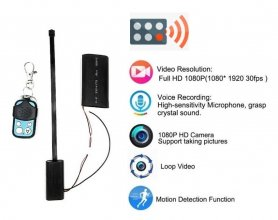 Full HD pinhole camera with remote controller + 2500mAh battery + motion detection