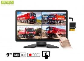 """Touch screen monitor 9 """"+ optagelse til et micro SD-kort (op til 256 GB) til 4 bakkameraer"""