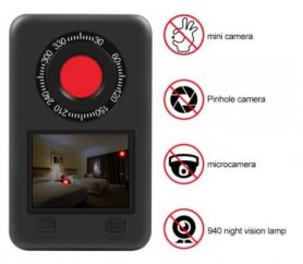 "Hidden camera detector - Profi Spy finder with IR LED 940nm with 2,2"" LCD display"