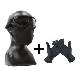 NANO HERO SET - Elastic face mask + safety goggles + protective gloves