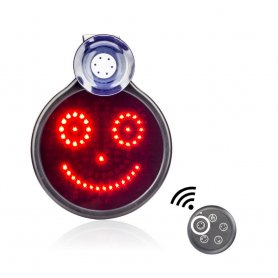 LED car sign  with smile on a rear window with a diameter of 16,6 cm