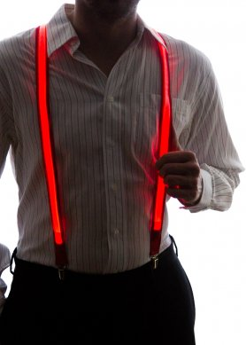 LED suspenders for men - red