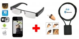 SET - Spy Brille mit FULL HD Kamera und WiFi + Spy Ohrhörer