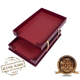 Wooden and leather document tray double Bordeaux color (Hand Made)