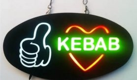 "LED panel board ""KEBAB"" sign 43 cm x 23 cm"