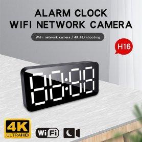 4K WiFi P2P kamera rejtve az ébresztőórában + mozgásérzékelés + éjszakai látás + Fényképezési szög 140 ° -ig